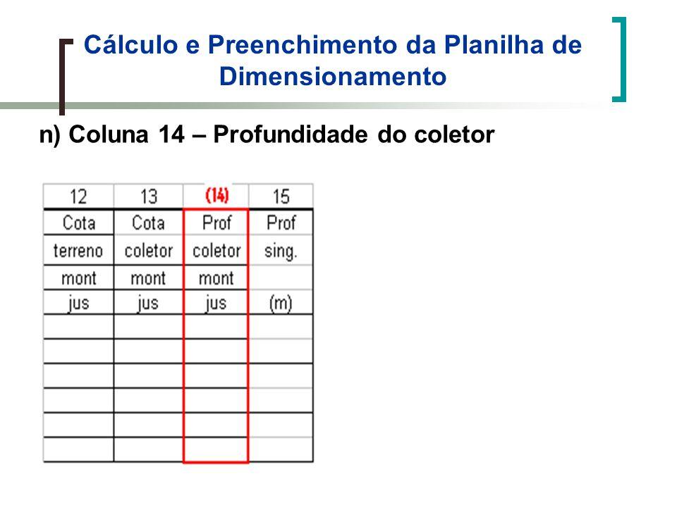 Cálculo e Preenchimento da Planilha de Dimensionamento n) Coluna 14 – Profundidade do coletor