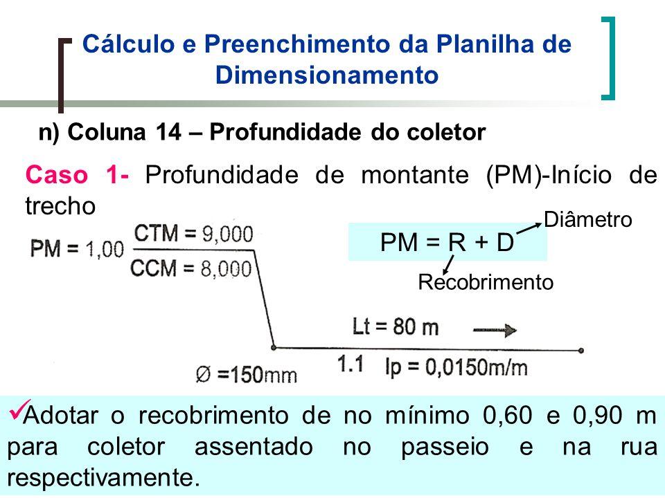 Cálculo e Preenchimento da Planilha de Dimensionamento n) Coluna 14 – Profundidade do coletor Caso 1- Profundidade de montante (PM)-Início de trecho Adotar o recobrimento de no mínimo 0,60 e 0,90 m para coletor assentado no passeio e na rua respectivamente.