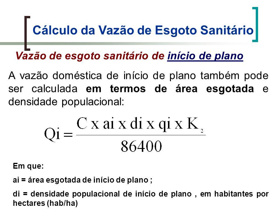 Cálculo da Vazão de Esgoto Sanitário Vazão de esgoto sanitário de final de plano Em que: Qf = Vazão do esgoto sanitário final (L/s); Qdf = Vazão doméstica de final de plano (L/s); Qind = Vazão industrial (L/s); Qinf = Vazão de infiltração Determinada com a soma das vazões, medidas de efluentes industriais ou com a estimativa do consumo de água nas industrias.