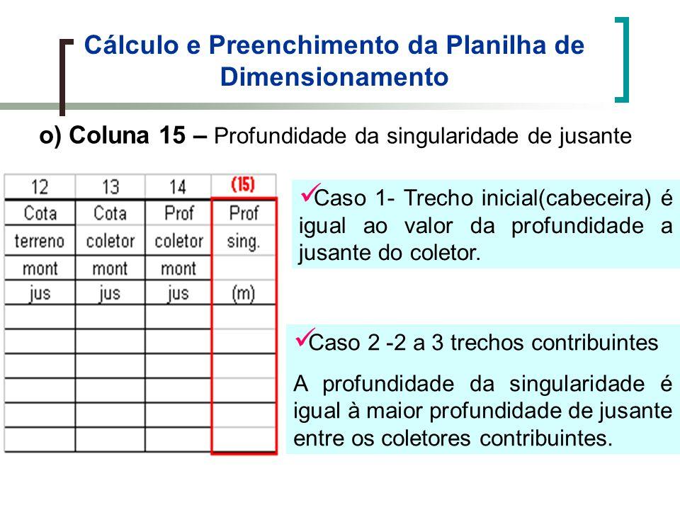 Cálculo e Preenchimento da Planilha de Dimensionamento o) Coluna 15 – Profundidade da singularidade de jusante Caso 1- Trecho inicial(cabeceira) é igual ao valor da profundidade a jusante do coletor.