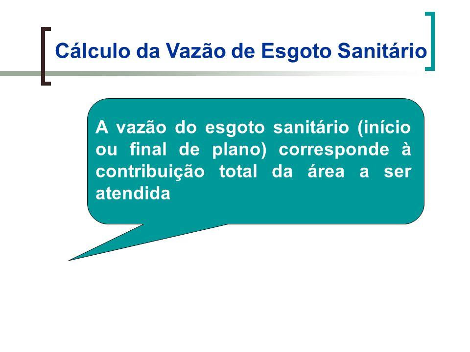 Cálculo da Vazão de Esgoto Sanitário A vazão do esgoto sanitário (início ou final de plano) corresponde à contribuição total da área a ser atendida