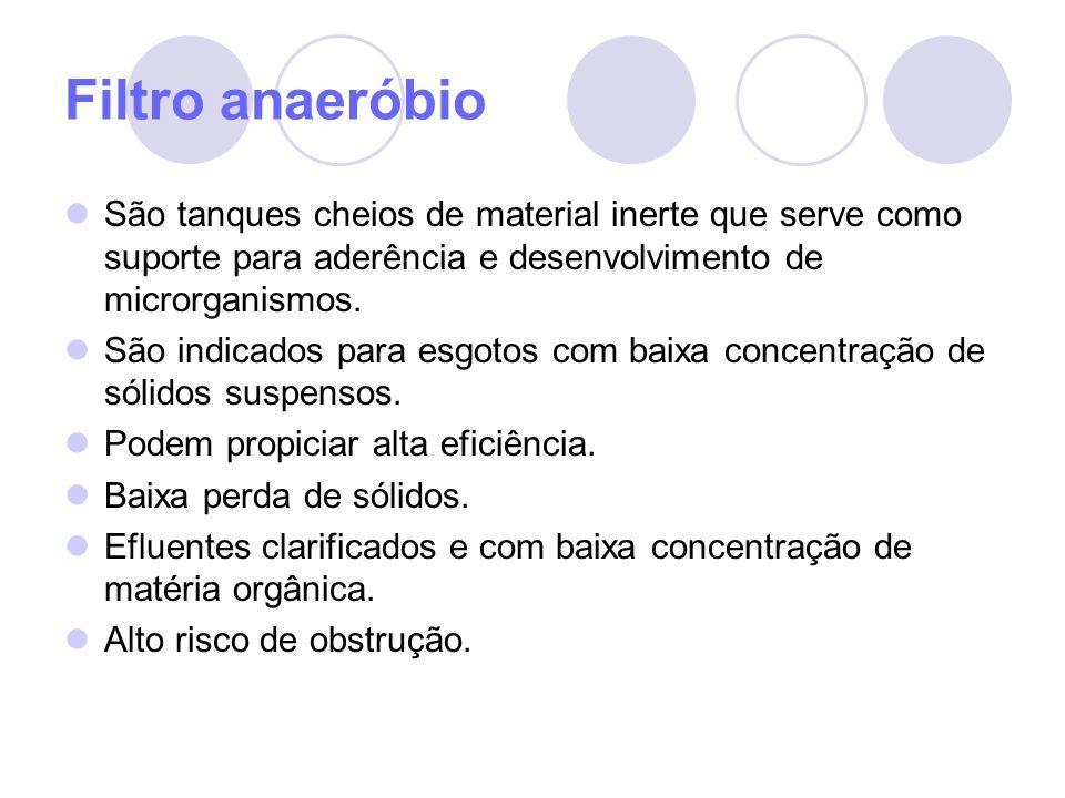 Filtro anaeróbio São tanques cheios de material inerte que serve como suporte para aderência e desenvolvimento de microrganismos. São indicados para e