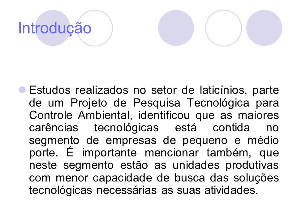 Introdução Estudos realizados no setor de laticínios, parte de um Projeto de Pesquisa Tecnológica para Controle Ambiental, identificou que as maiores