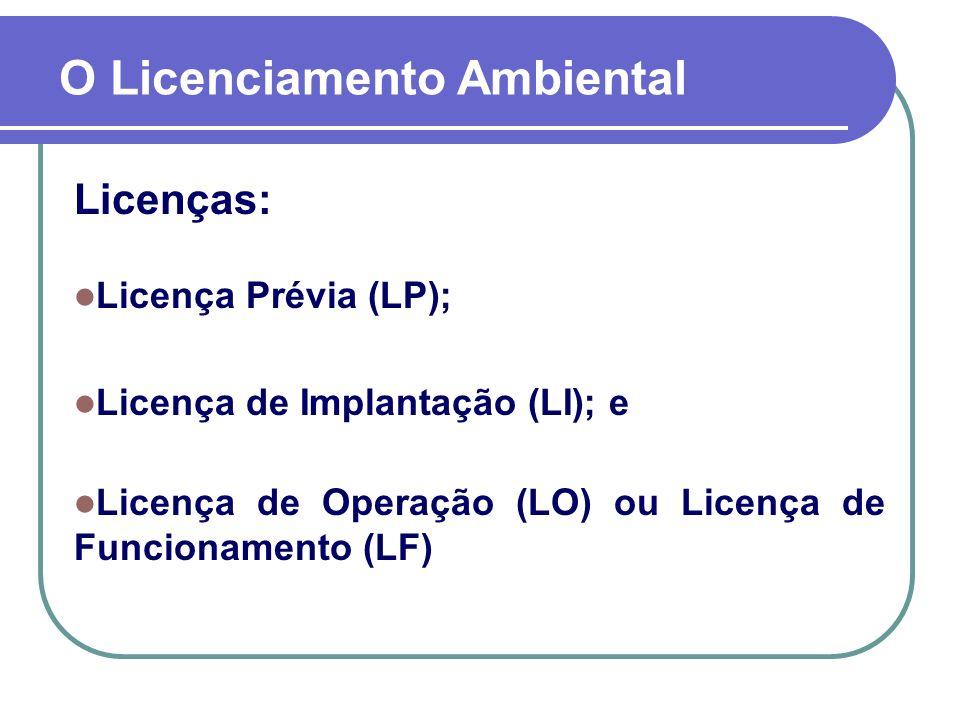 Licenças: Licença Prévia (LP); Licença de Implantação (LI); e Licença de Operação (LO) ou Licença de Funcionamento (LF) O Licenciamento Ambiental