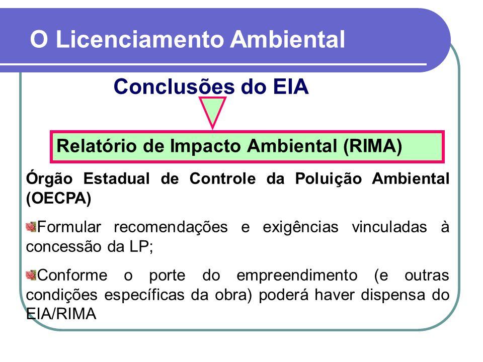 Conclusões do EIA O Licenciamento Ambiental Relatório de Impacto Ambiental (RIMA) Órgão Estadual de Controle da Poluição Ambiental (OECPA) Formular re