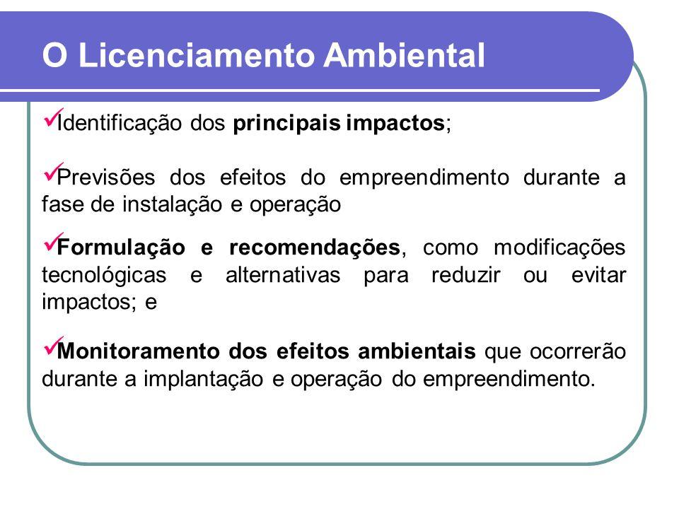 O Licenciamento Ambiental Identificação dos principais impactos; Previsões dos efeitos do empreendimento durante a fase de instalação e operação Formu