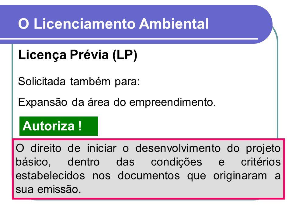 O Licenciamento Ambiental Licença Prévia (LP) Solicitada também para: Expansão da área do empreendimento. O direito de iniciar o desenvolvimento do pr