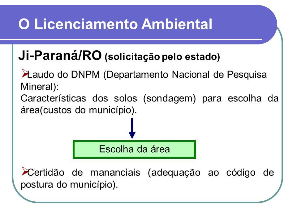 O Licenciamento Ambiental Ji-Paraná/RO (solicitação pelo estado) Laudo do DNPM (Departamento Nacional de Pesquisa Mineral): Características dos solos