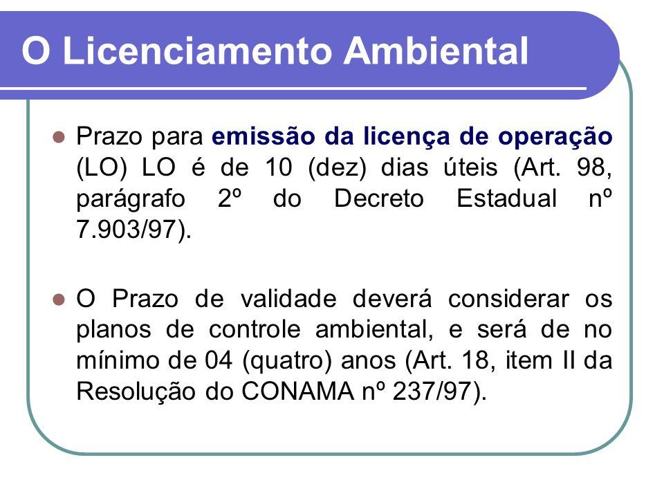 Prazo para emissão da licença de operação (LO) LO é de 10 (dez) dias úteis (Art. 98, parágrafo 2º do Decreto Estadual nº 7.903/97). O Prazo de validad