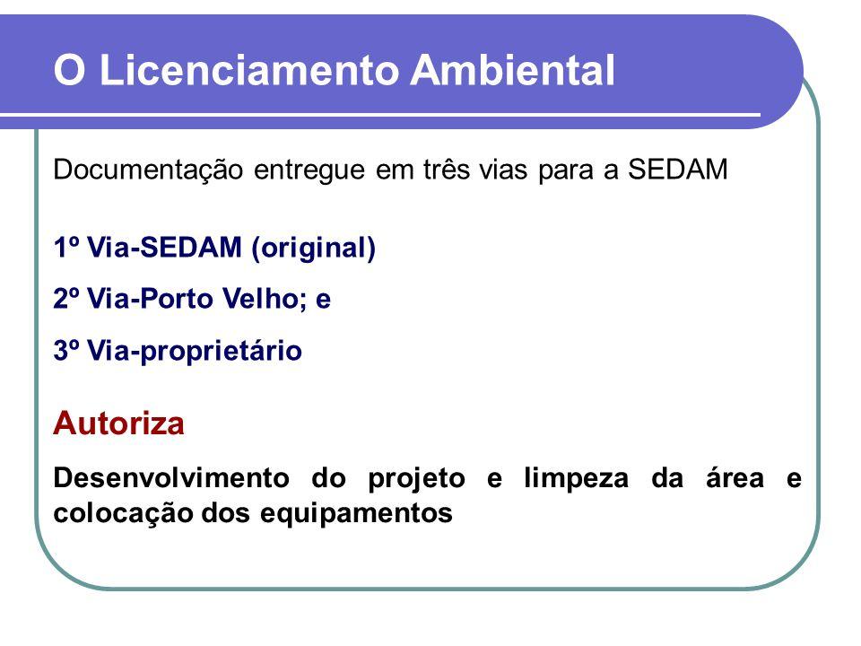 Documentação entregue em três vias para a SEDAM 1º Via-SEDAM (original) 2º Via-Porto Velho; e 3º Via-proprietário Autoriza Desenvolvimento do projeto