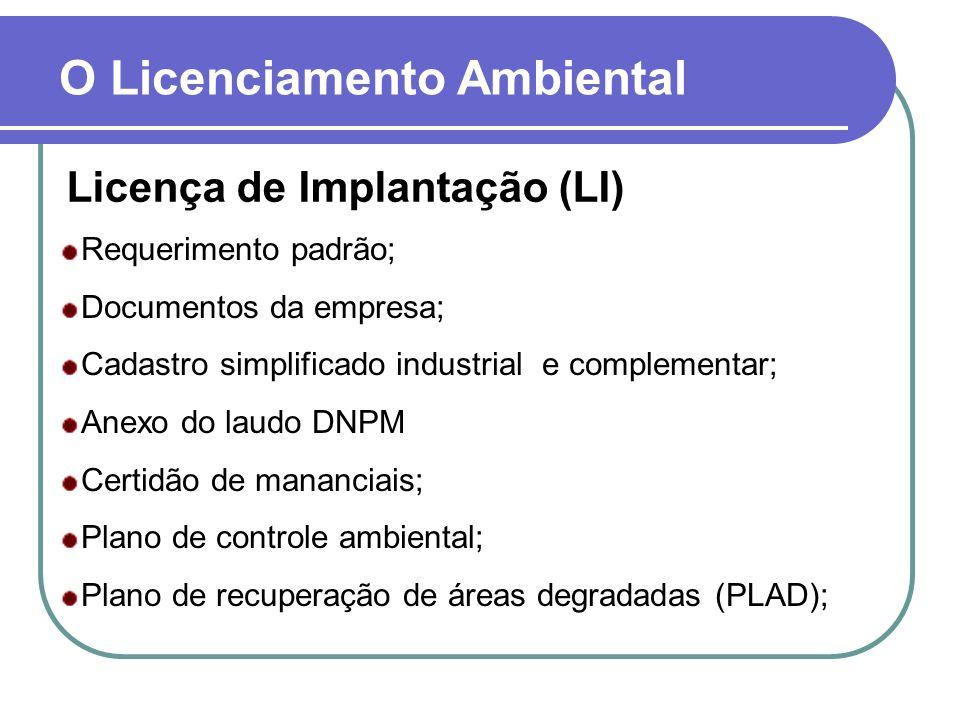 O Licenciamento Ambiental Licença de Implantação (LI) Requerimento padrão; Documentos da empresa; Cadastro simplificado industrial e complementar; Ane