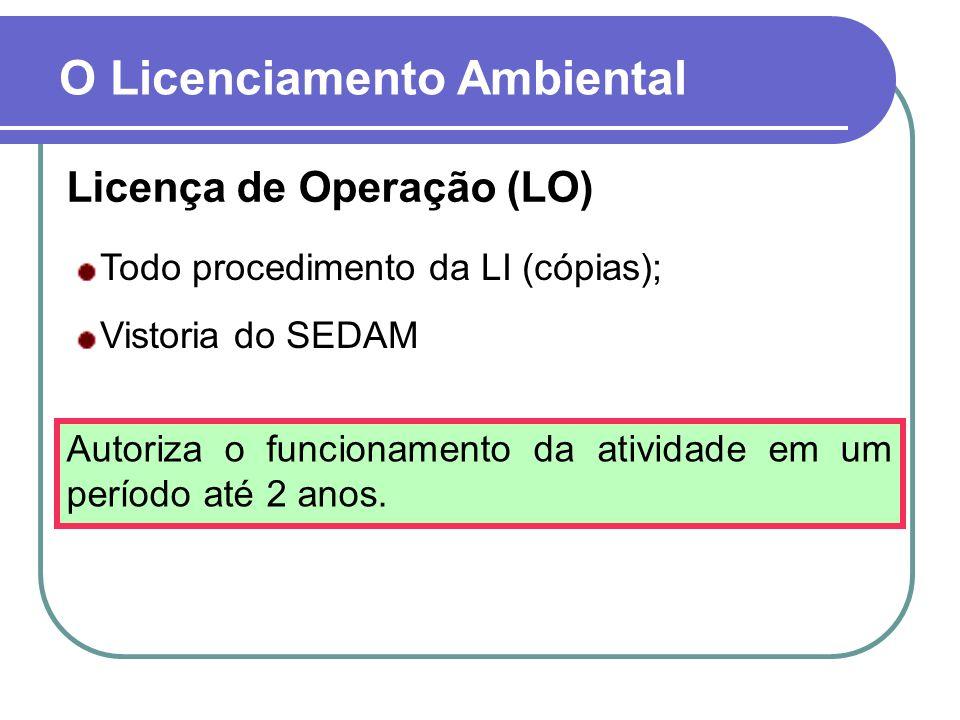 Licença de Operação (LO) O Licenciamento Ambiental Todo procedimento da LI (cópias); Vistoria do SEDAM Autoriza o funcionamento da atividade em um per