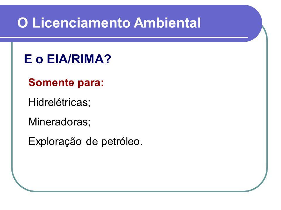E o EIA/RIMA? Somente para: Hidrelétricas; Mineradoras; Exploração de petróleo.