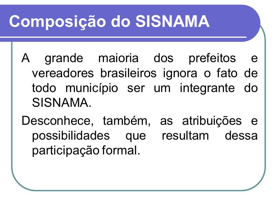 A grande maioria dos prefeitos e vereadores brasileiros ignora o fato de todo município ser um integrante do SISNAMA. Desconhece, também, as atribuiçõ