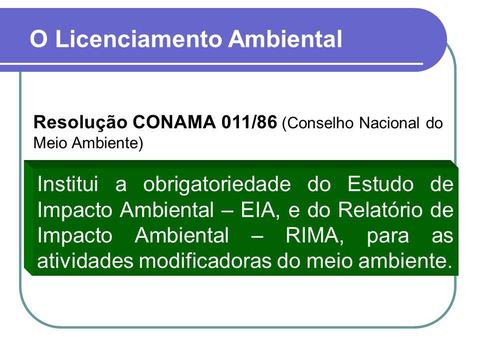 O Licenciamento Ambiental Resolução CONAMA 011/86 (Conselho Nacional do Meio Ambiente) Institui a obrigatoriedade do Estudo de Impacto Ambiental – EIA