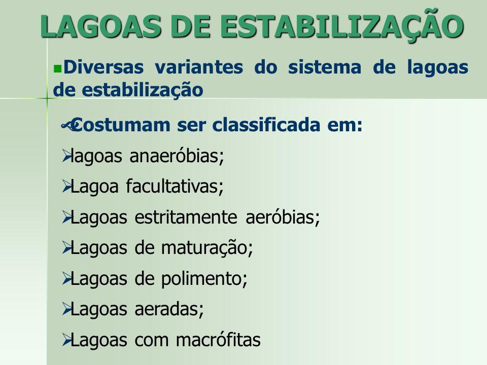 LAGOAS DE ESTABILIZAÇÃO Diversas variantes do sistema de lagoas de estabilização Costumam ser classificada em: lagoas anaeróbias; Lagoa facultativas;