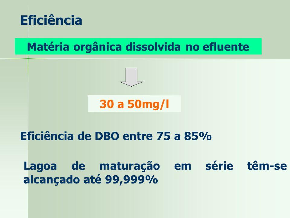Eficiência Matéria orgânica dissolvida no efluente 30 a 50mg/l Eficiência de DBO entre 75 a 85% Lagoa de maturação em série têm-se alcançado até 99,99