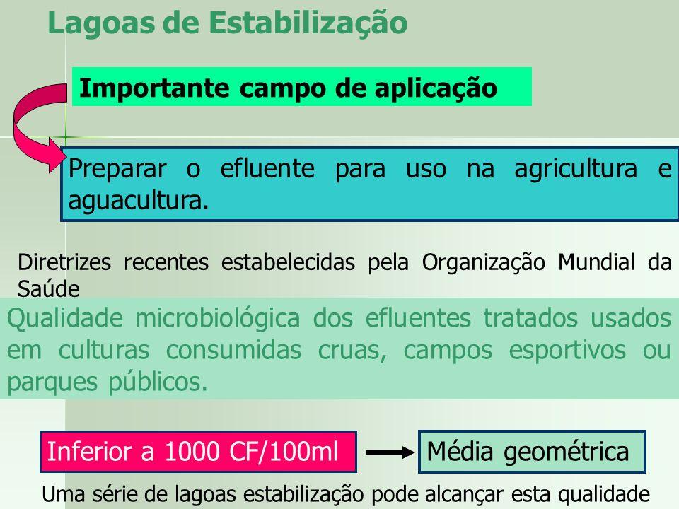Lagoas de Estabilização Importante campo de aplicação Preparar o efluente para uso na agricultura e aguacultura. Diretrizes recentes estabelecidas pel
