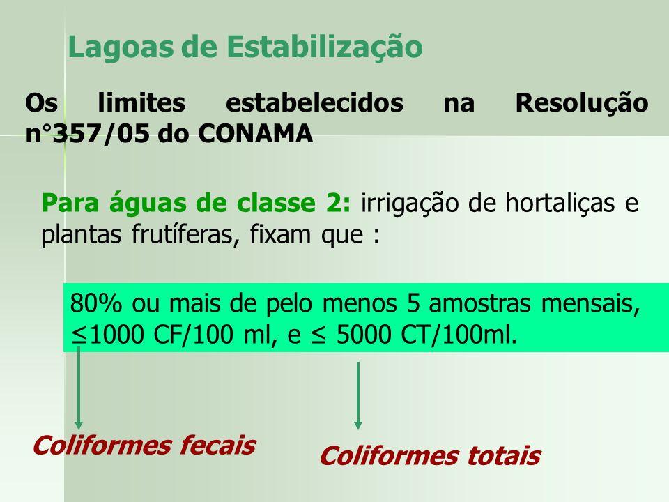 Lagoas de Estabilização Os limites estabelecidos na Resolução n°357/05 do CONAMA Para águas de classe 2: irrigação de hortaliças e plantas frutíferas,