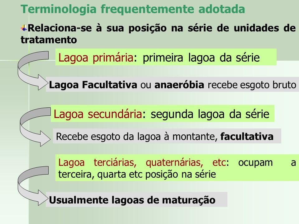 Terminologia frequentemente adotada Relaciona-se à sua posição na série de unidades de tratamento Lagoa primária: primeira lagoa da série Lagoa Facult