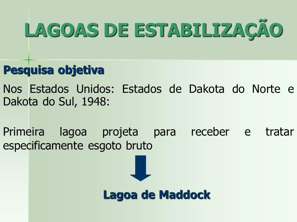 Pesquisa objetiva Nos Estados Unidos: Estados de Dakota do Norte e Dakota do Sul, 1948: Primeira lagoa projeta para receber e tratar especificamente e