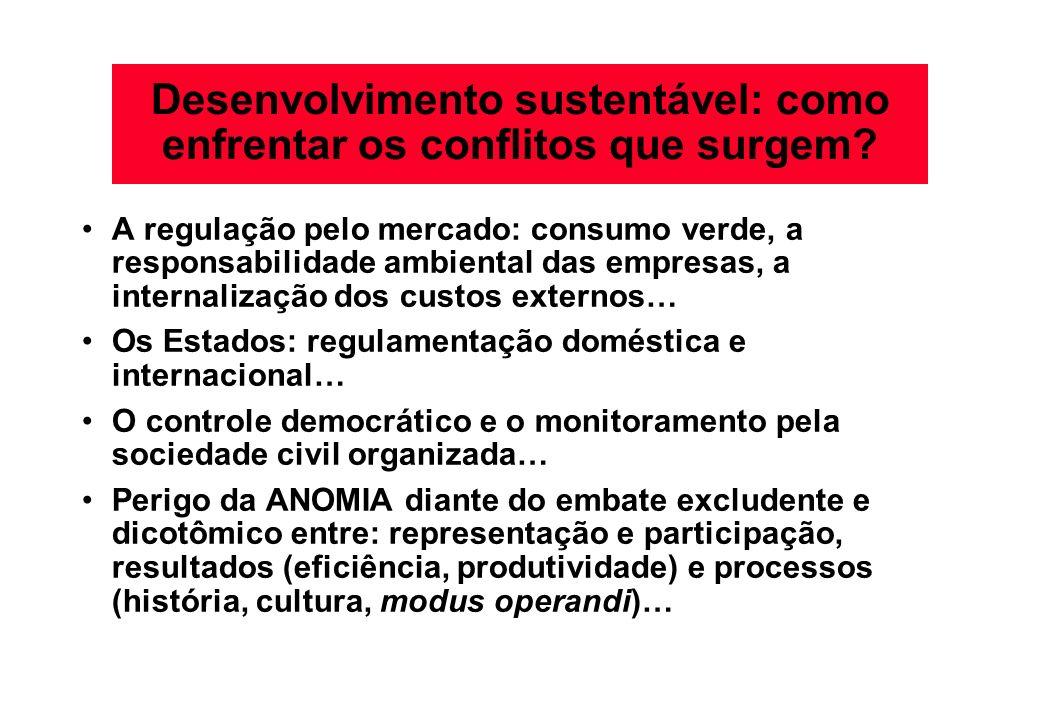Desenvolvimento sustentável: como enfrentar os conflitos que surgem? A regulação pelo mercado: consumo verde, a responsabilidade ambiental das empresa