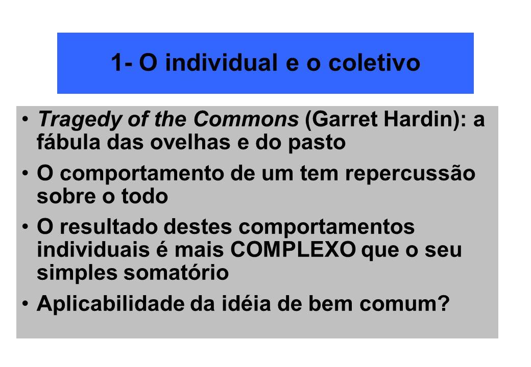 1- O individual e o coletivo Tragedy of the Commons (Garret Hardin): a fábula das ovelhas e do pasto O comportamento de um tem repercussão sobre o tod