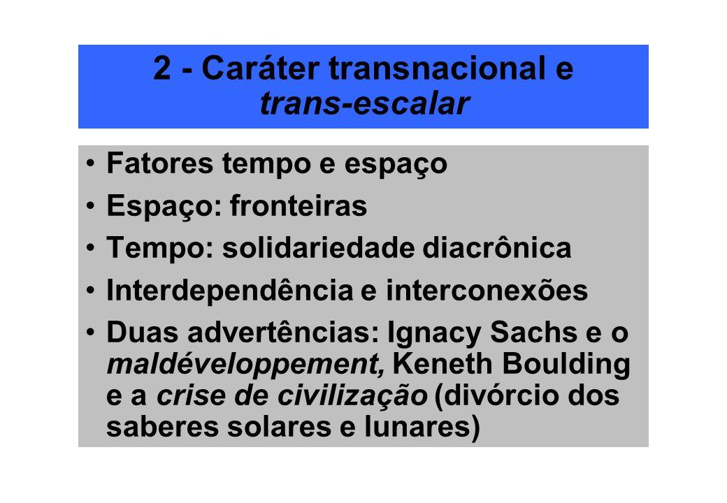 2 - Caráter transnacional e trans-escalar Fatores tempo e espaço Espaço: fronteiras Tempo: solidariedade diacrônica Interdependência e interconexões D
