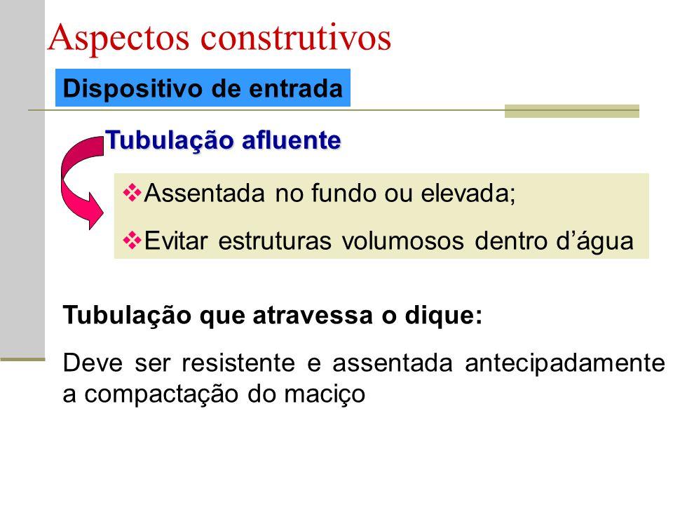Aspectos construtivos Dispositivo de entrada Tubulação afluente Assentada no fundo ou elevada; Evitar estruturas volumosos dentro dágua Tubulação que