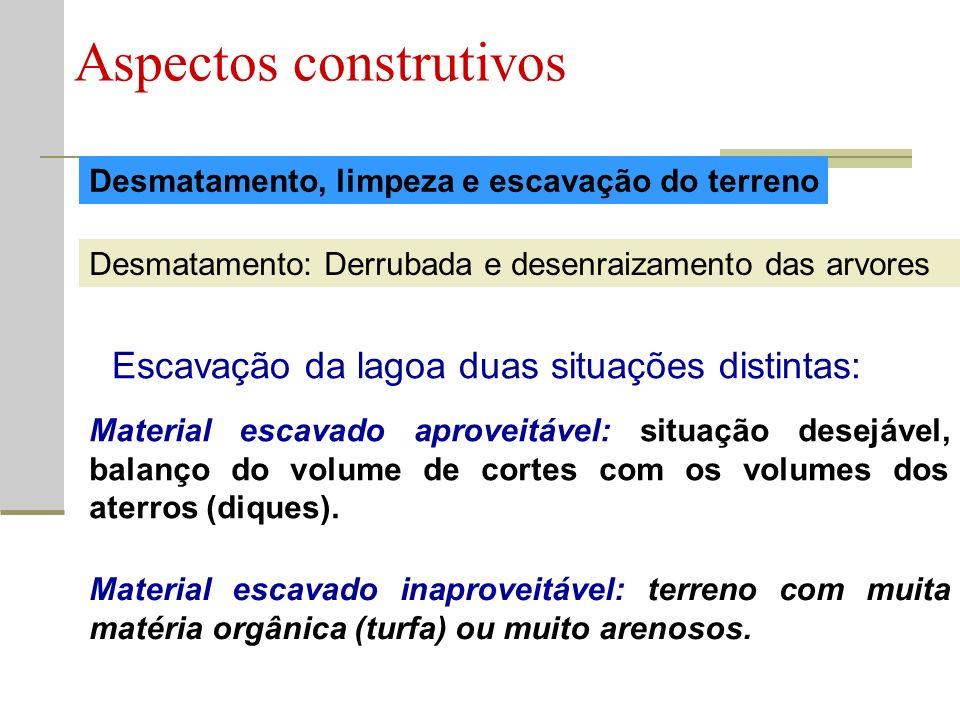 Desmatamento, limpeza e escavação do terreno Aspectos construtivos Desmatamento: Derrubada e desenraizamento das arvores Escavação da lagoa duas situa