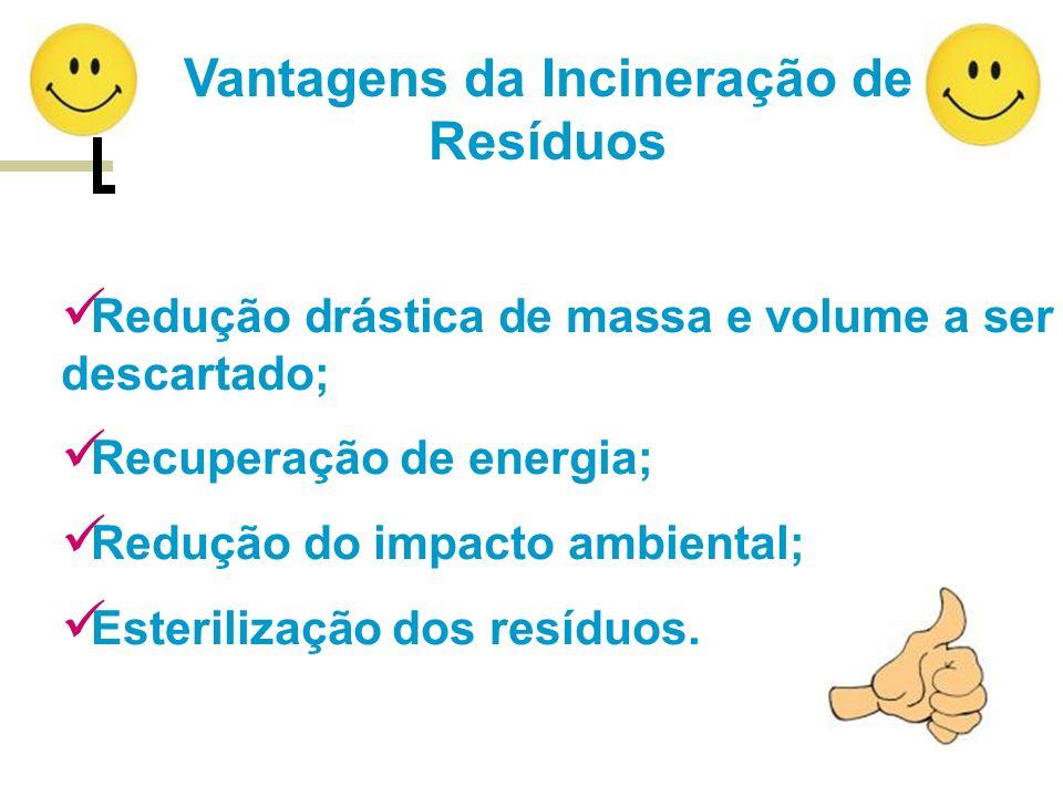 Vantagens da Incineração de Resíduos Redução drástica de massa e volume a ser descartado; Recuperação de energia; Redução do impacto ambiental; Esteri