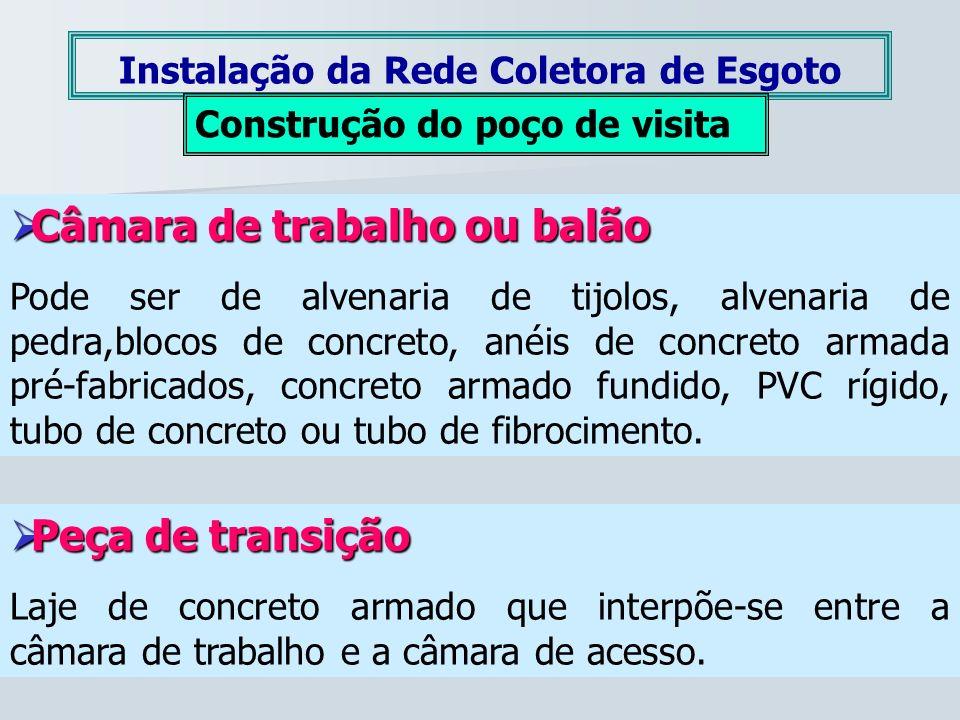 Câmara de trabalho ou balão Câmara de trabalho ou balão Pode ser de alvenaria de tijolos, alvenaria de pedra,blocos de concreto, anéis de concreto arm