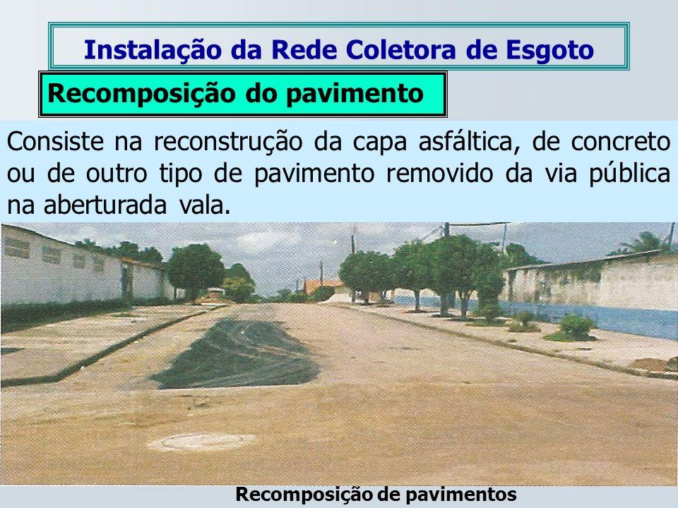 Instalação da Rede Coletora de Esgoto Recomposição do pavimento Consiste na reconstrução da capa asfáltica, de concreto ou de outro tipo de pavimento