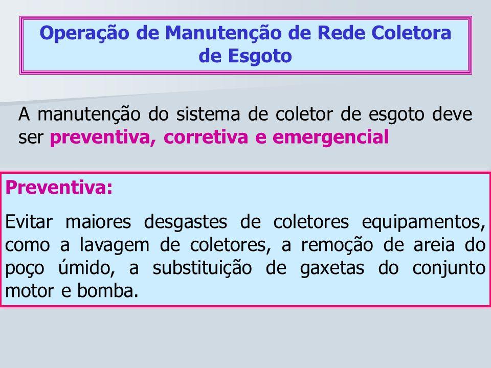 Operação de Manutenção de Rede Coletora de Esgoto A manutenção do sistema de coletor de esgoto deve ser preventiva, corretiva e emergencial Preventiva