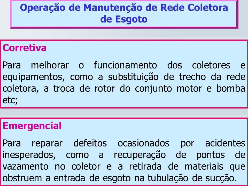 Operação de Manutenção de Rede Coletora de Esgoto Corretiva Para melhorar o funcionamento dos coletores e equipamentos, como a substituição de trecho