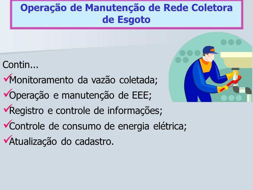 Contin... Monitoramento da vazão coletada; Operação e manutenção de EEE; Registro e controle de informações; Controle de consumo de energia elétrica;