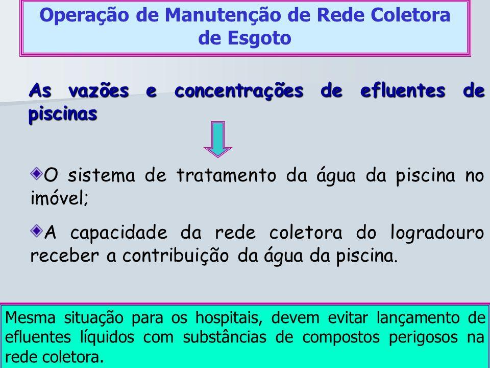 As vazões e concentrações de efluentes de piscinas Operação de Manutenção de Rede Coletora de Esgoto O sistema de tratamento da água da piscina no imó