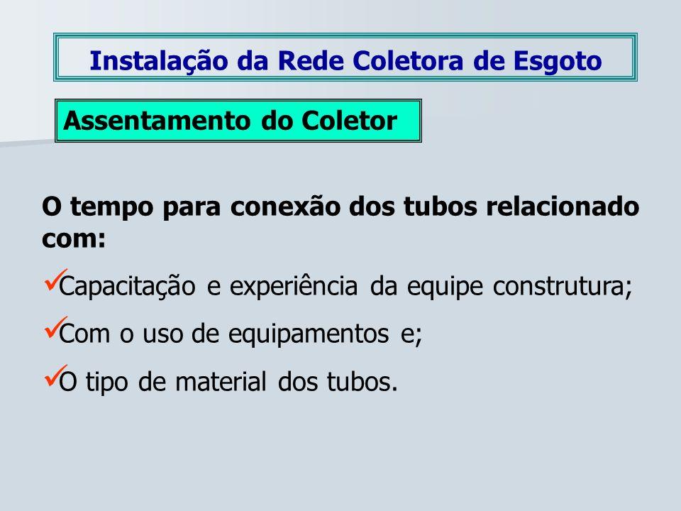 Instalação da Rede Coletora de Esgoto Assentamento do Coletor O tempo para conexão dos tubos relacionado com: Capacitação e experiência da equipe cons
