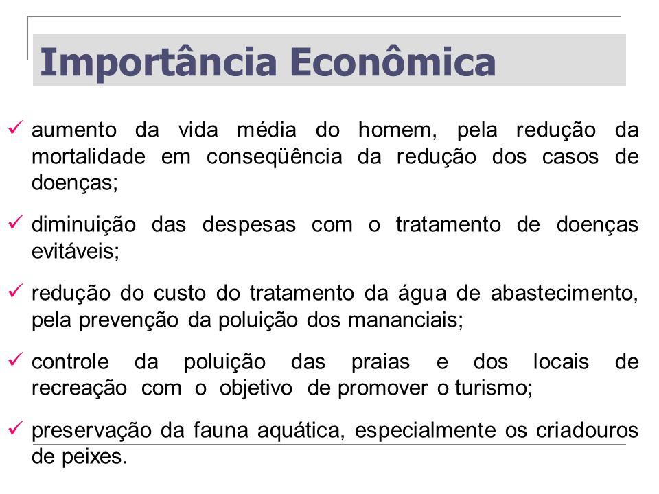 Importância Econômica aumento da vida média do homem, pela redução da mortalidade em conseqüência da redução dos casos de doenças; diminuição das desp
