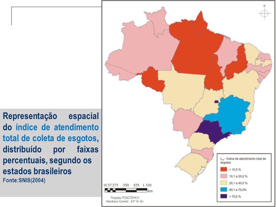 Representação espacial do índice de atendimento total de coleta de esgotos, distribuído por faixas percentuais, segundo os estados brasileiros Fonte:S