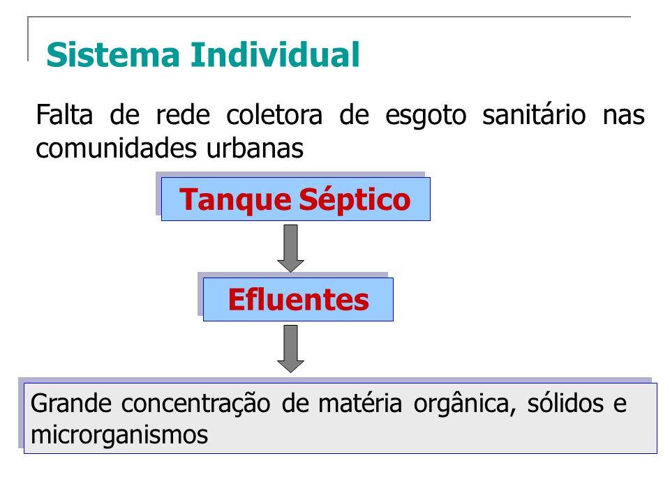 Sistema Individual Falta de rede coletora de esgoto sanitário nas comunidades urbanas Tanque Séptico Grande concentração de matéria orgânica, sólidos