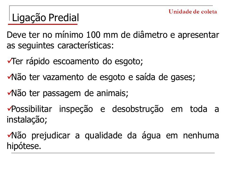 Unidade de coleta Ligação Predial Deve ter no mínimo 100 mm de diâmetro e apresentar as seguintes características: Ter rápido escoamento do esgoto; Nã