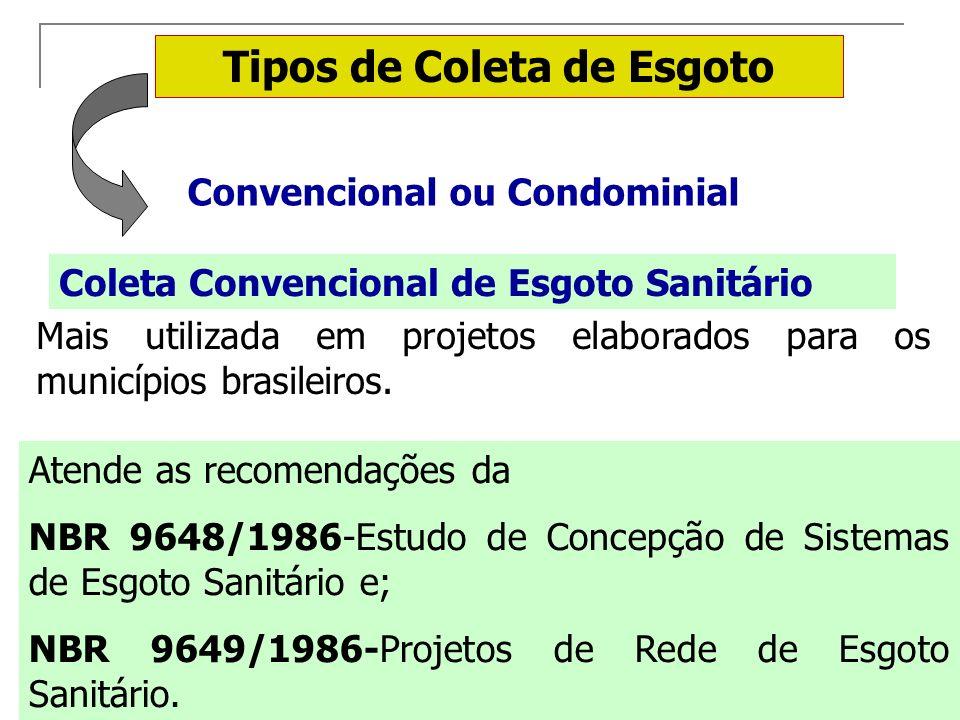 Tipos de Coleta de Esgoto Convencional ou Condominial Coleta Convencional de Esgoto Sanitário Mais utilizada em projetos elaborados para os municípios