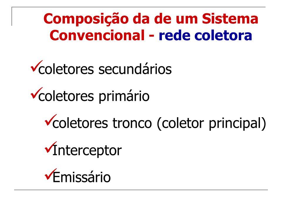 coletores secundários coletores primário coletores tronco (coletor principal) Interceptor Emissário Composição da de um Sistema Convencional - rede co