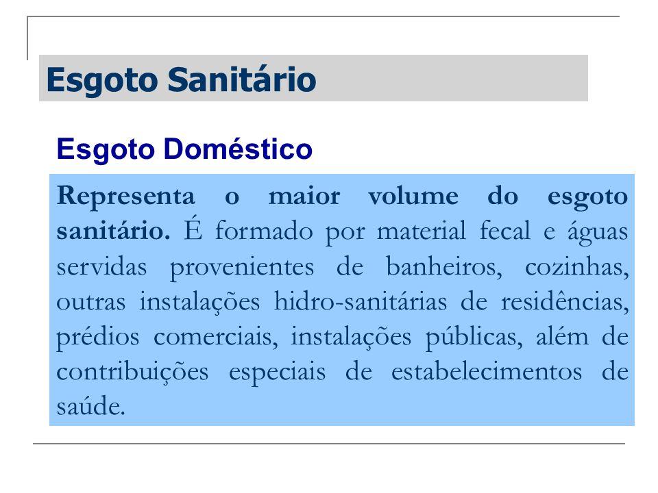 Esgoto Sanitário Esgoto Doméstico Representa o maior volume do esgoto sanitário. É formado por material fecal e águas servidas provenientes de banheir