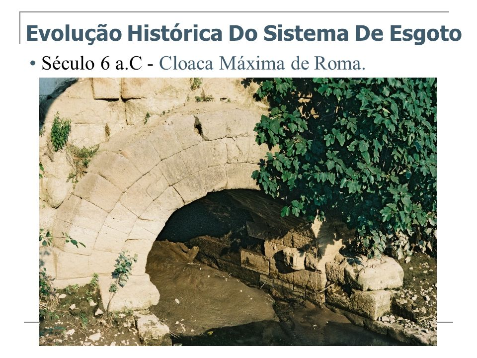 Século 6 a.C - Cloaca Máxima de Roma. Evolução Histórica Do Sistema De Esgoto