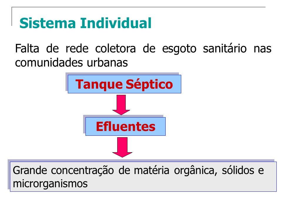 Sistema Individual Efluentes Desaconselhável o lançamento direto em coletores de drenagem pluvial e em corpos dágua.