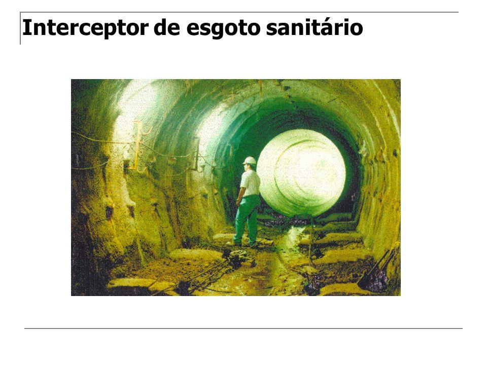 Emissário Canalização destinada a conduzir os esgotos a um destino conveniente(estação de tratamento e/ou lançamento) sem receber contribuições em marcha.