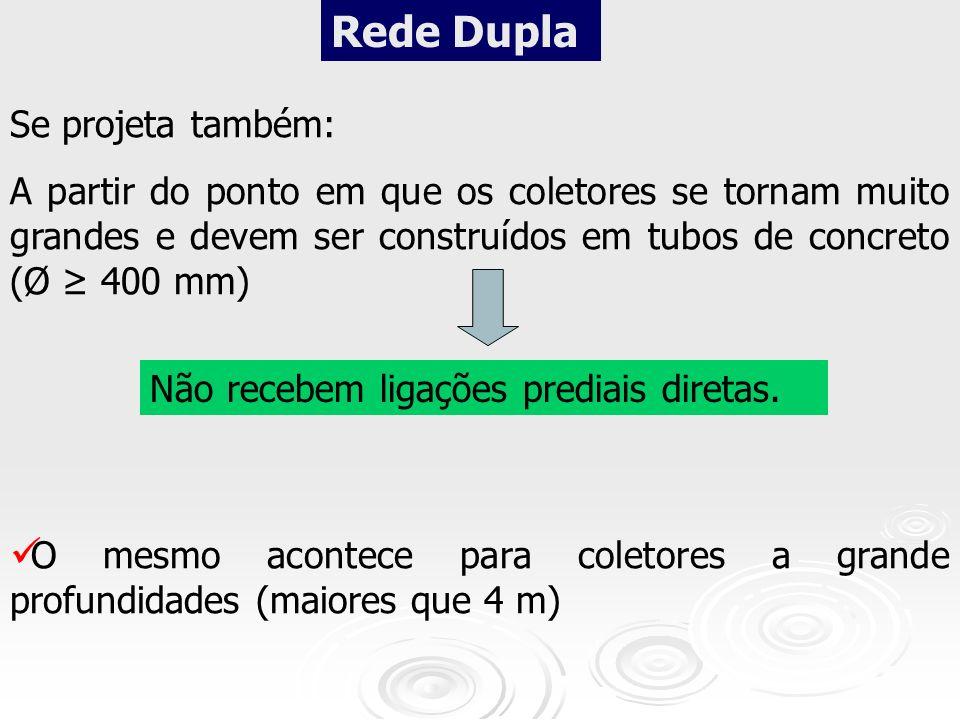 Rede Dupla Se projeta também: A partir do ponto em que os coletores se tornam muito grandes e devem ser construídos em tubos de concreto (Ø 400 mm) Nã