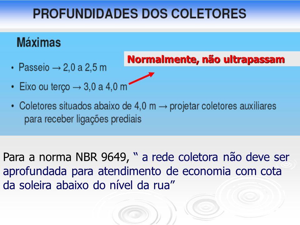 Normalmente, não ultrapassam Para a norma NBR 9649, a rede coletora não deve ser aprofundada para atendimento de economia com cota da soleira abaixo d